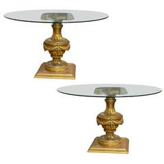 Pair Louis XVI Style Glass Top Carved Gilt Pedestal Center Tables / End Tables