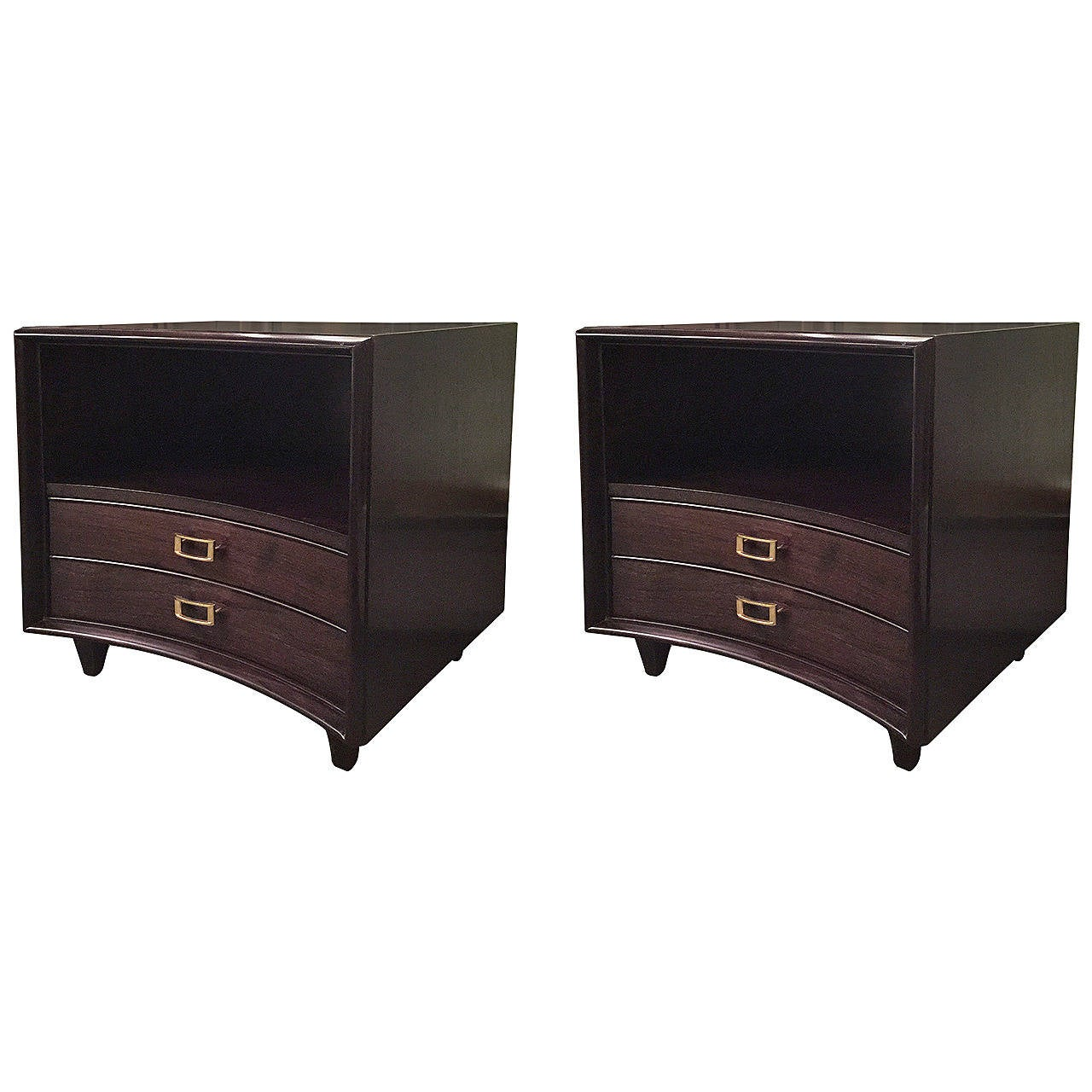 Pair of Ebonized Paul Frankl Nightstands or Chests 1