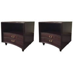 Pair of Ebonized Paul Frankl Nightstands or Chests