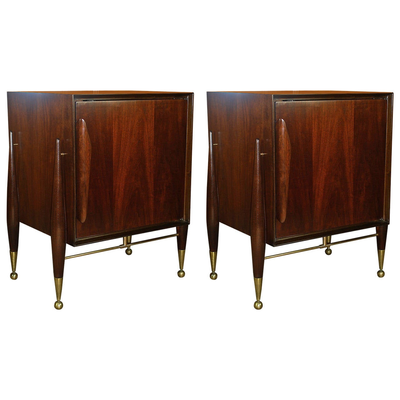 Mid century modern pair of sculptural nightstands with brass details