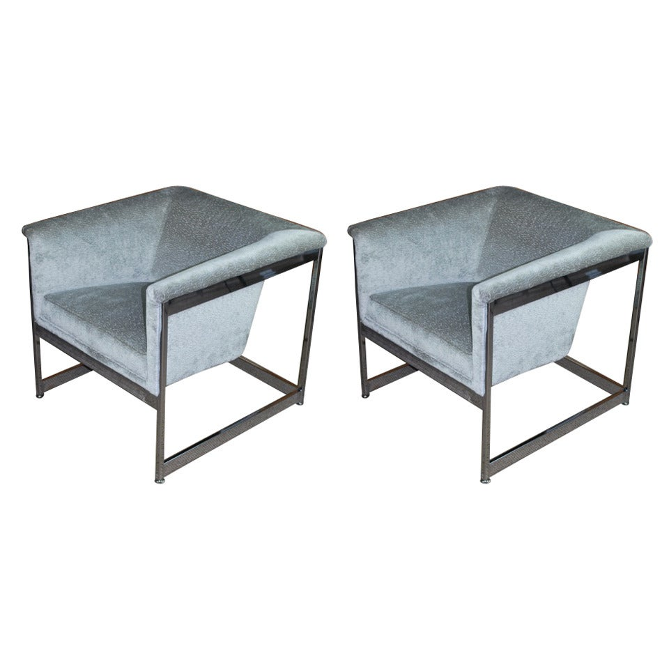 Pair of Milo Baughman Cube Chairs at 1stdibs