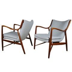 Matched Pair of Finn Juhl, NV 45 Armchairs