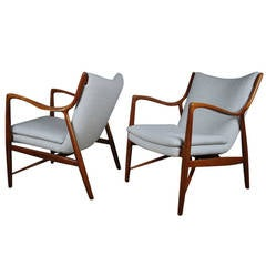 Matched Pair of Finn Juhl, NV 45 Armchairs