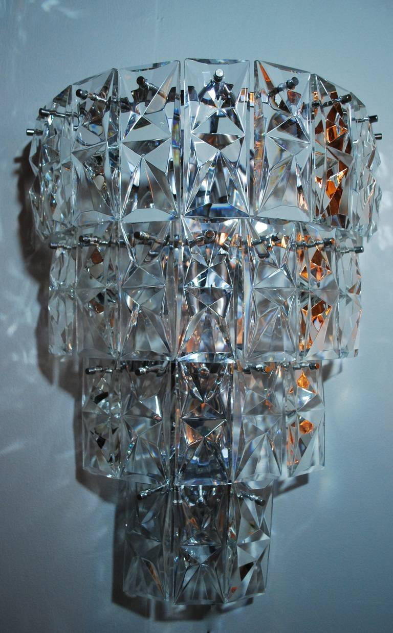 Large Crystal Wall Sconces : Large Scale Crystal Sconces at 1stdibs