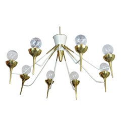 Brass and White Enamel Italian Chandelier, 1970s
