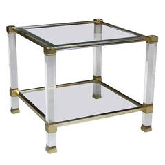 Brass and Lucite Pierre Vandel Side Table