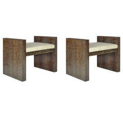 """Pair of """"H"""" Benches in Cerused Oak"""