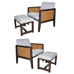 Edward Wormley for Dunbar Lounge Chairs with Ottomans
