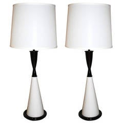 Black & White Lacquered Hourglass Table Lamps