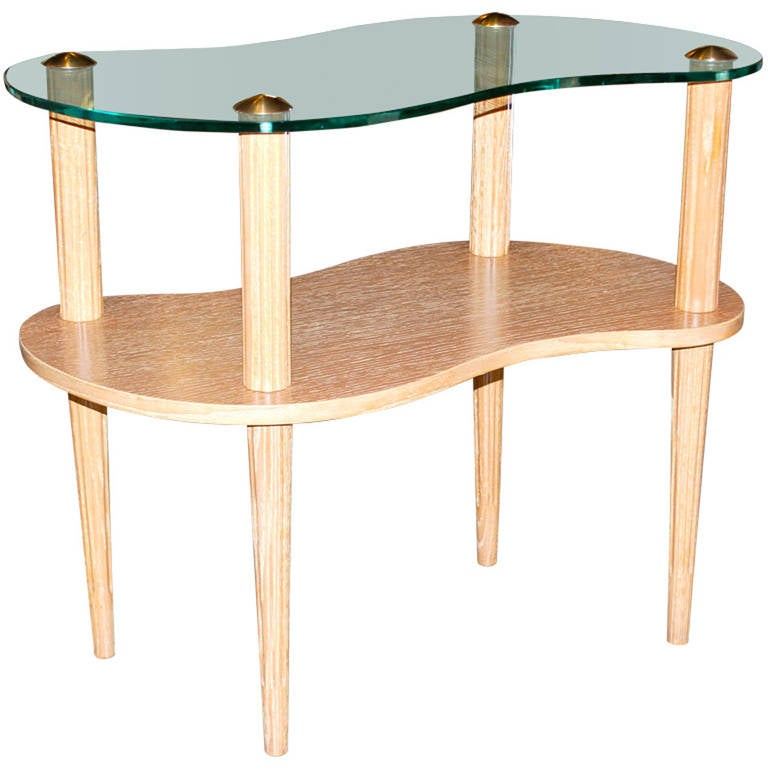 Asymmetric Cerused Side Table with Glass Top