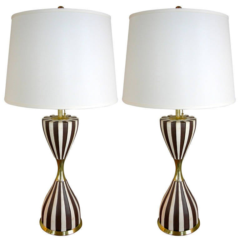 Pair of Harlequin Tables Lamps by Gerald Thurston