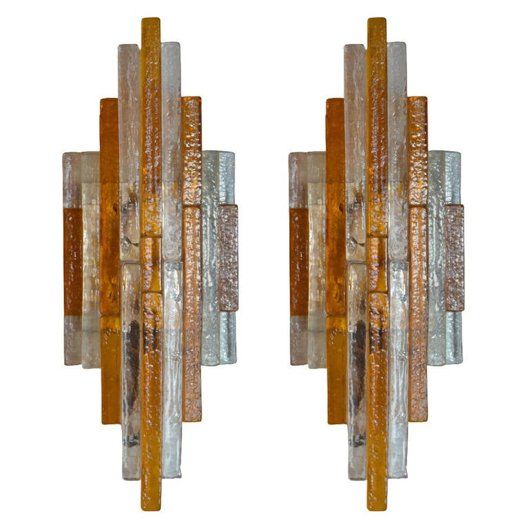 Pair of Stacked Glass Poliarte Sconces
