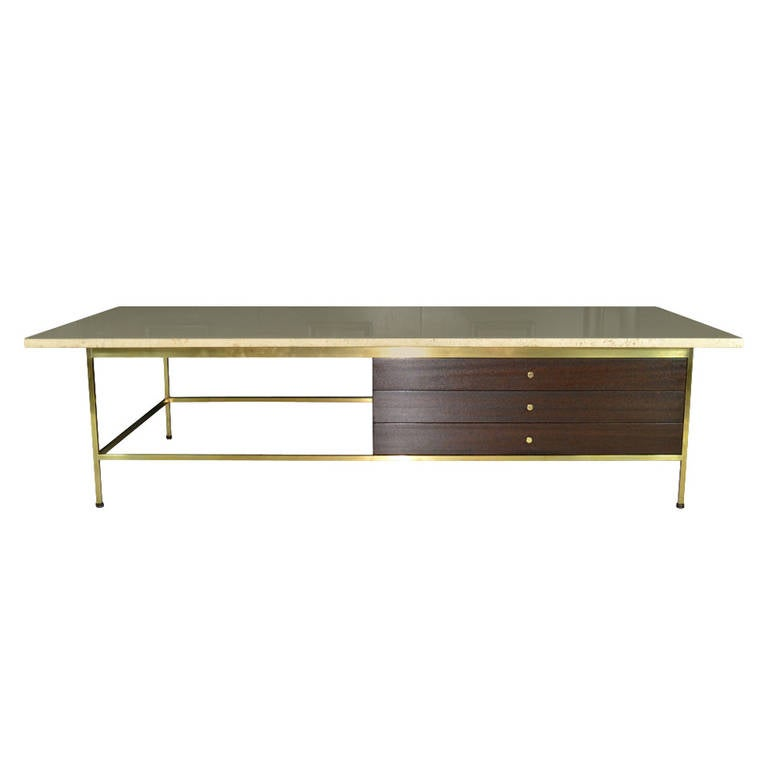 Travertine Top Coffee Table By Paul McCobb Calvin Group At 1stdibs
