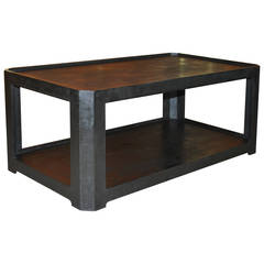Karl Springer Black Textured Coffee Table