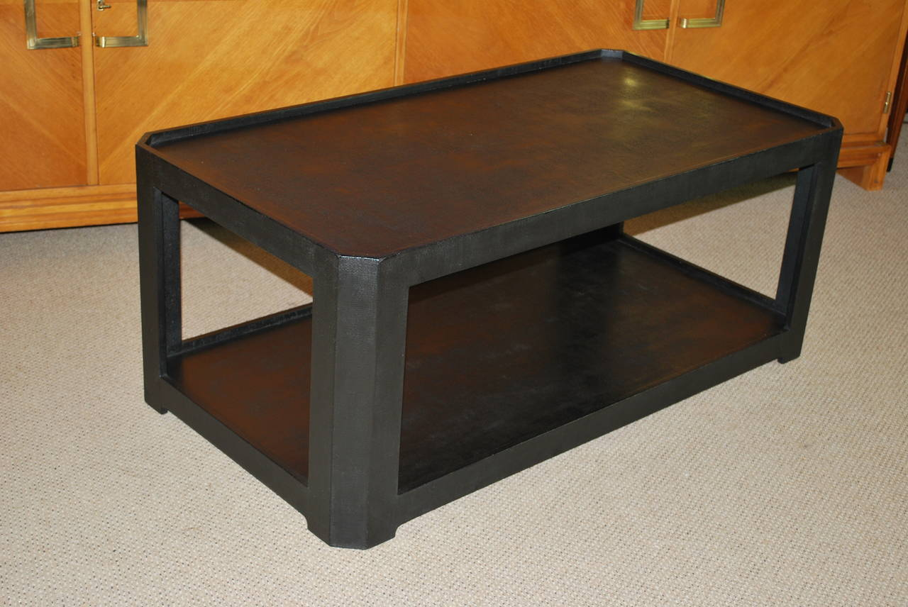 Karl Springer Black Textured Coffee Table For Sale At 1stdibs