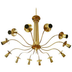 Large Midcentury Italian Brass Chandelier, Grand Scale in Manner of Stilnovo