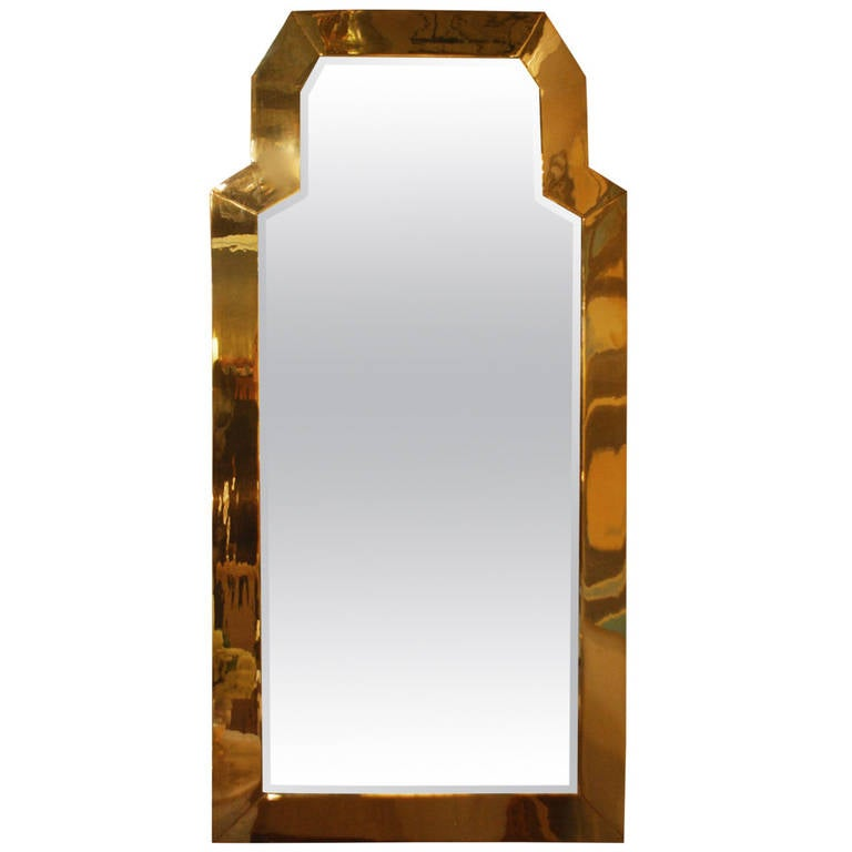 large full length mid century brass beveled mirror by chapman at 1stdibs. Black Bedroom Furniture Sets. Home Design Ideas