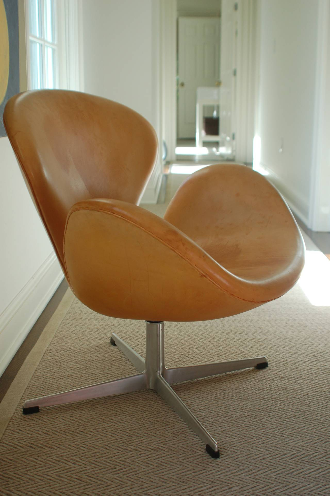 Rare Natural Leather Early Swan Chairs By Arne Jacobsen Circa 1963