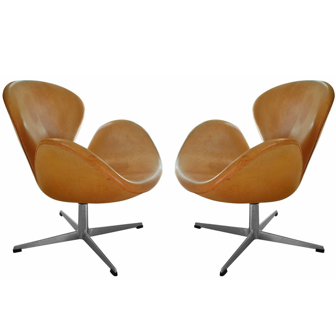 Rare Natural Leather Early Swan Chairs By Arne Jacobsen
