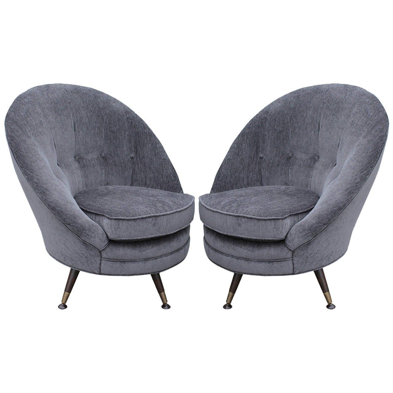 luxe pair of unusual grey swivel chair at 1stdibs