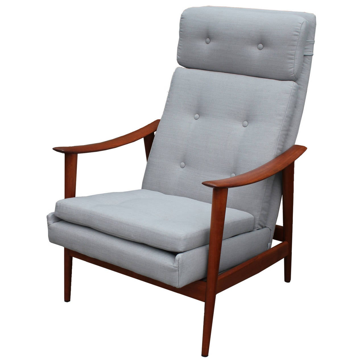 Restored Scandinavian Teak Recliner in Grey Linen 2  sc 1 st  1stDibs : danish recliner chair - islam-shia.org