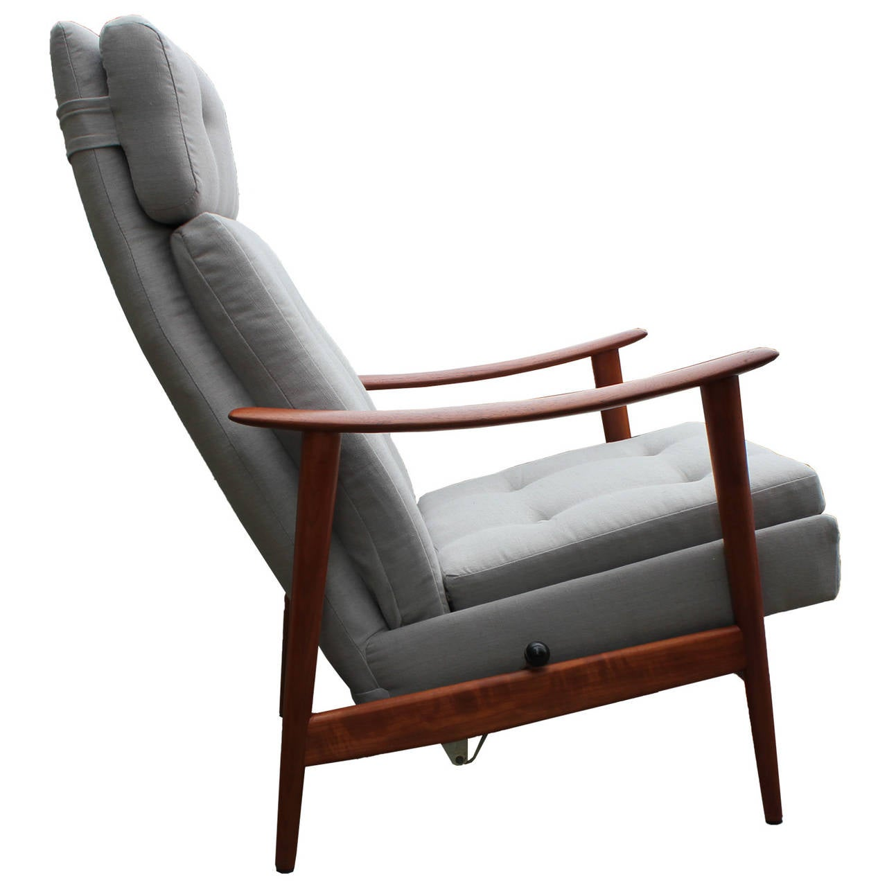 Restored Scandinavian Teak Recliner In Grey Linen At 1stdibs