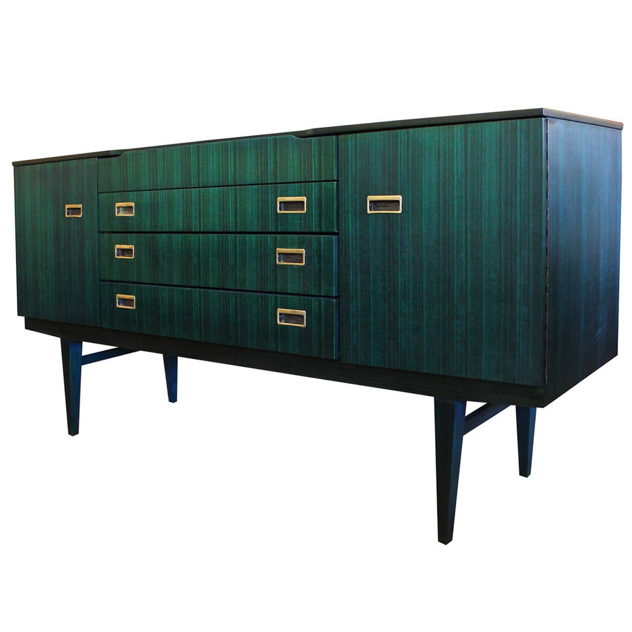 Luxe Teal Dyed Sideboard with Brass Handles at 1stdibs
