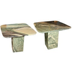Stunning Green and White Marble Side Table