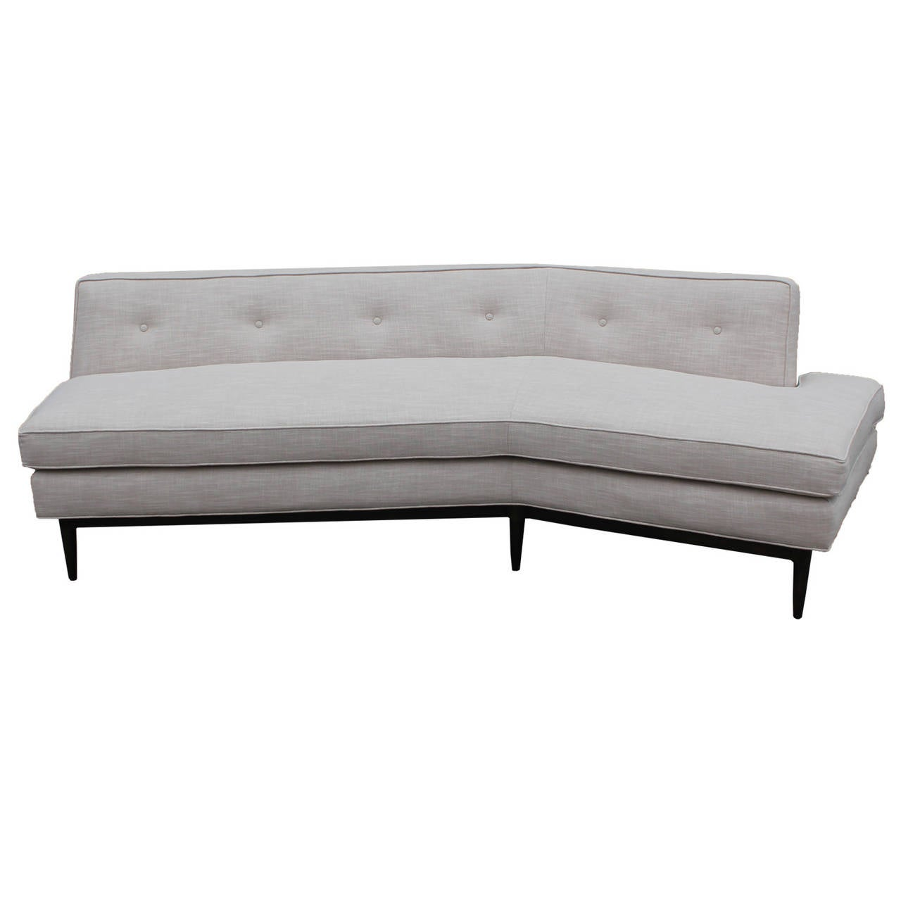 Angled tomlinson white linen sofa at 1stdibs for White linen sectional sofa