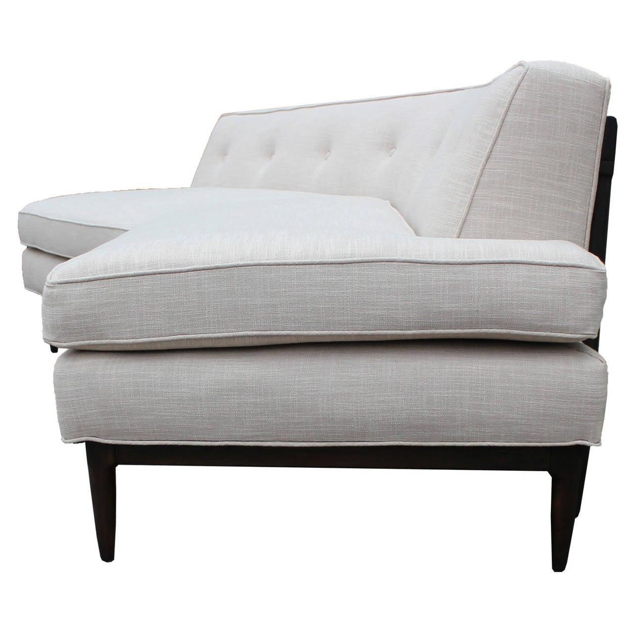 Angled Tomlinson White Linen Sofa At 1stdibs