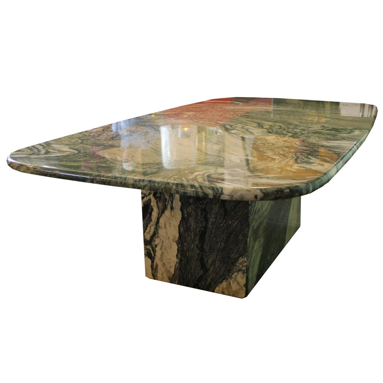 Striking green and white marble coffee table at 1stdibs Granite coffee table