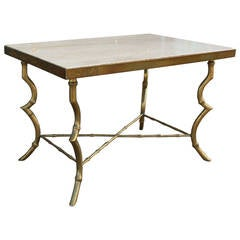 Maison Bagues Brass and Travertine Side Table