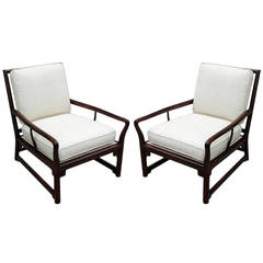 Exquisite Pair of Michael Taylor Style Lounge Chairs