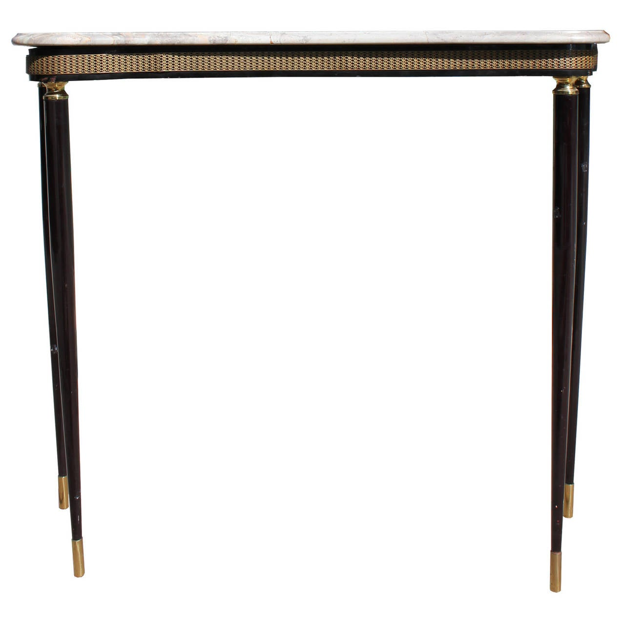 petite italian marble console with brass accents at 1stdibs. Black Bedroom Furniture Sets. Home Design Ideas