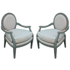 Stunning Pair of Hollywood Regency Scalloped Edge Donghia Style Lounge Chairs