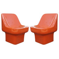 Douglas Deeds Glossy Orange Lacquered Fiberglass Chairs