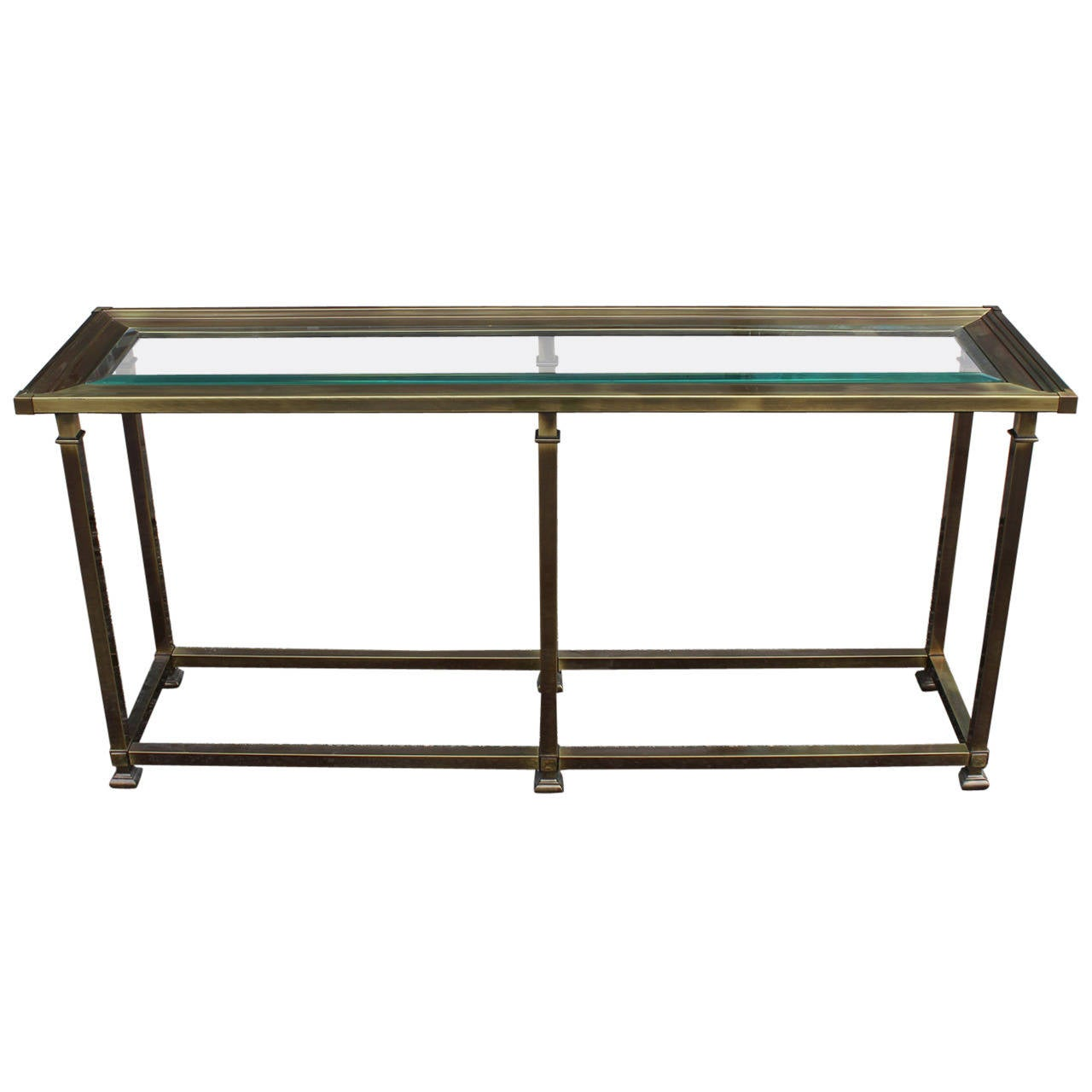 Mastercraft Brass And Glass Console Table At 1stdibs