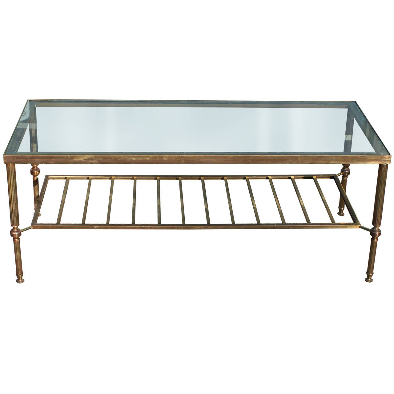 Elegant Brass And Glass Coffee Table At 1stdibs