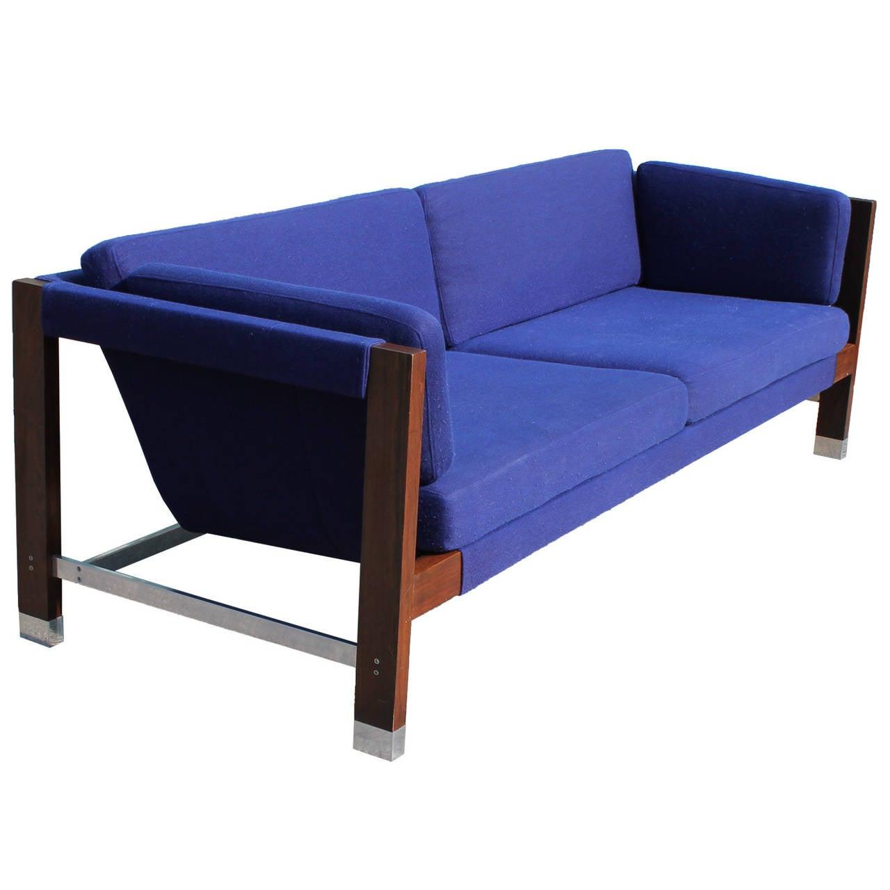 Milo Baughman Rosewood and Chrome Blue Sling Sofa at 1stdibs