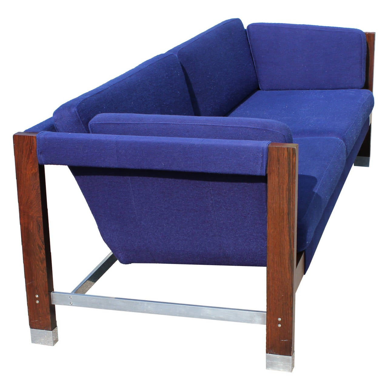 Milo Baughman Rosewood And Chrome Blue Sling Sofa At 1stdibs