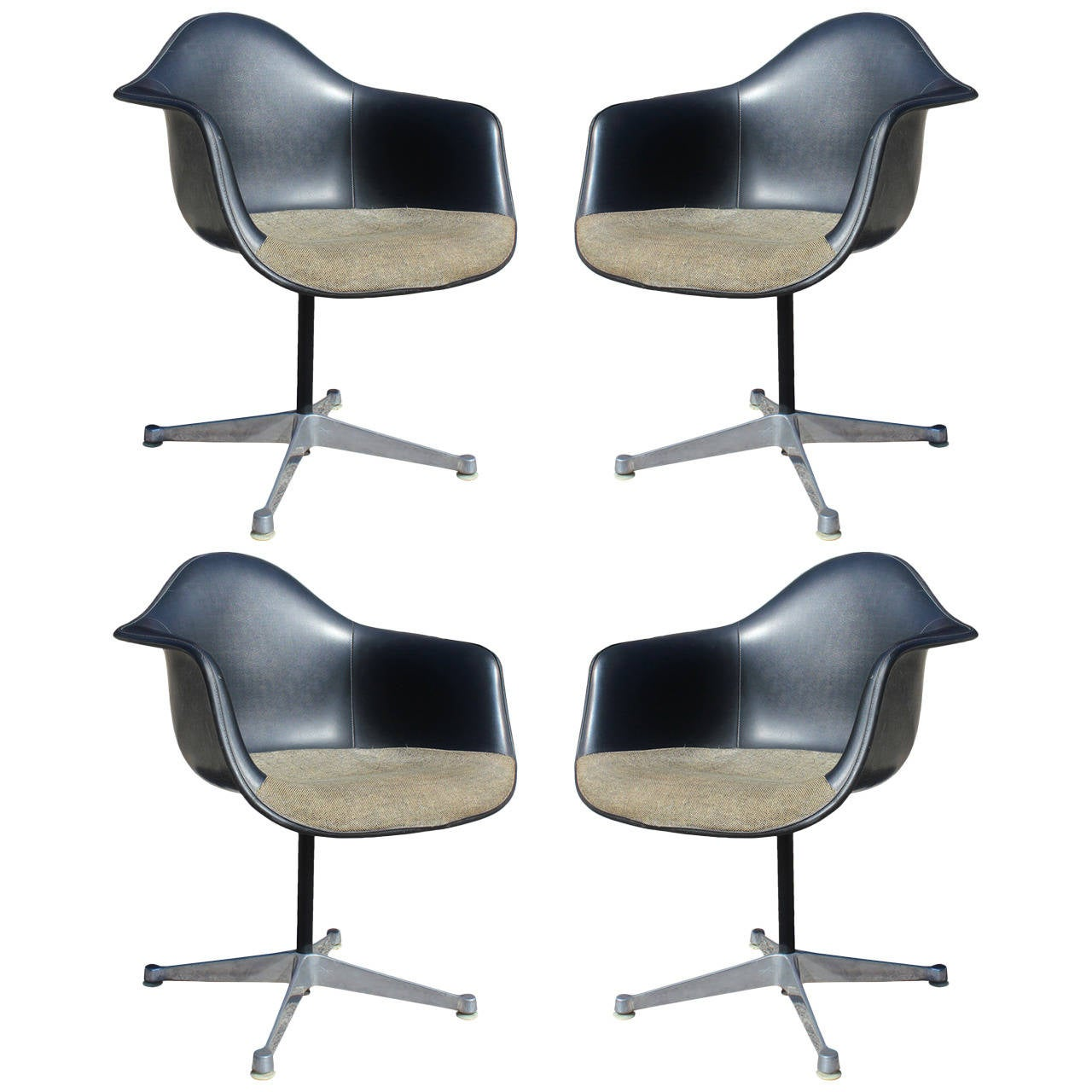 Set Of Four Herman Miller Eames Swivel Bucket Chairs For Sale