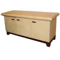 Mid Century Modern Karl Springer Style Goat Skin Sideboard with Walnut Base