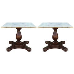 Pair of Stunning Marble Top Walnut End Tables
