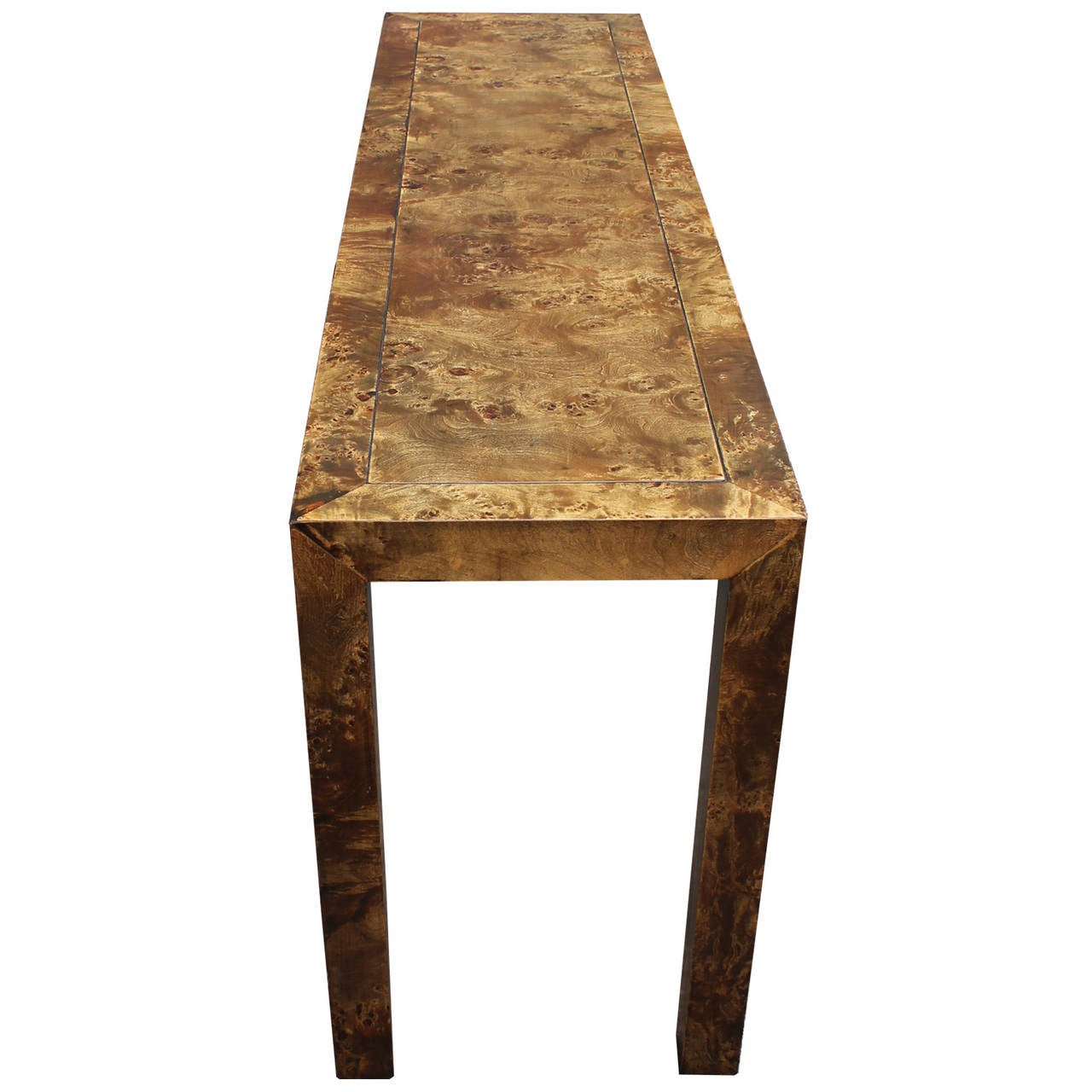Console Wooden : Parson Style Olive Burl Wood Console Table at 1stdibs