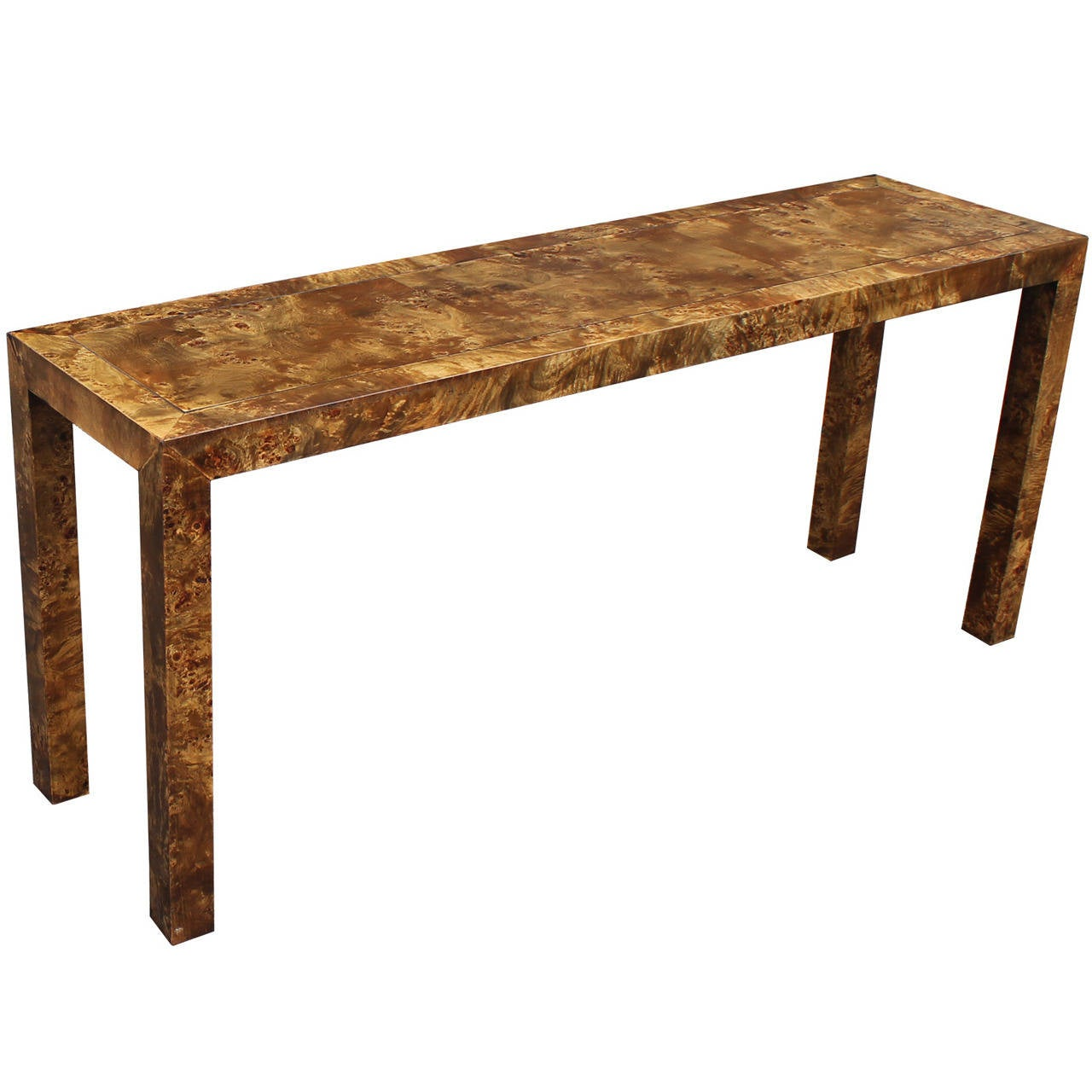 Parson Console Table Parson Style Olive Burl Wood Console Table at 1stdibs