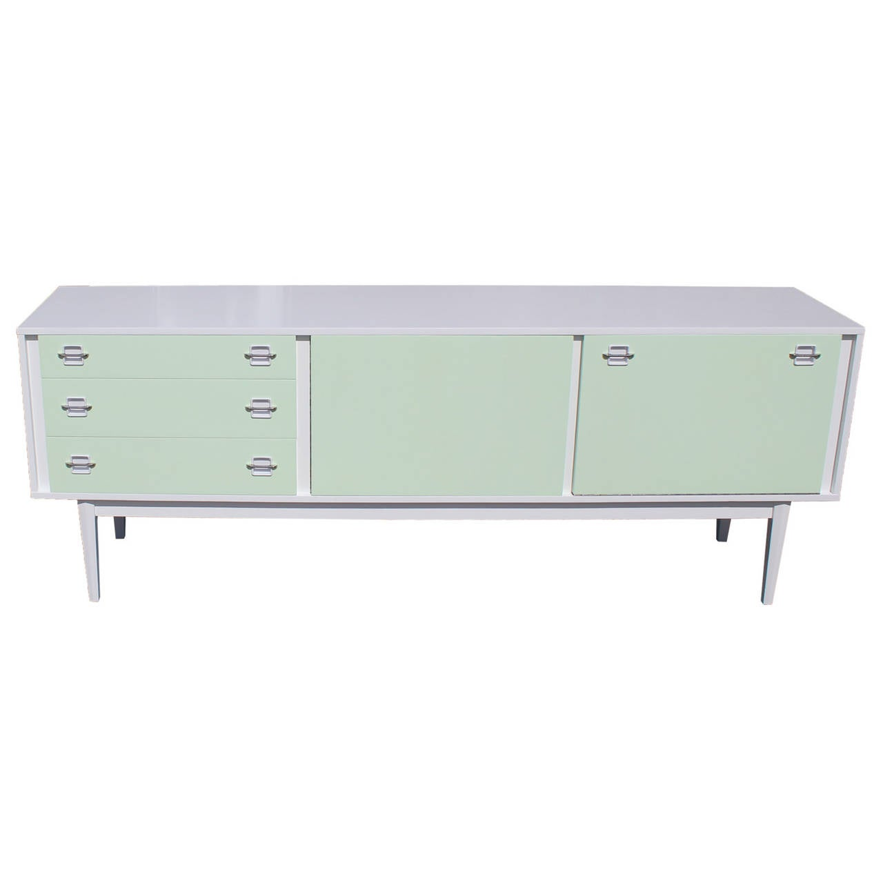 Modern White Credenza White And Mint Mid Century Modern Lacquered Sideboard Chrome