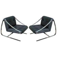 Luxe Pair of Cantilevered Brueton Plaza Lounge Chairs by Charles Gibilterra