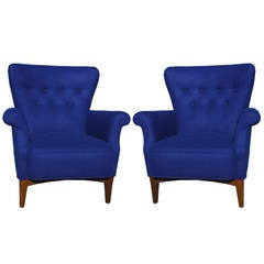 Stunning Pair of Mid Century Modern Royal Blue Danish Lounge Chairs