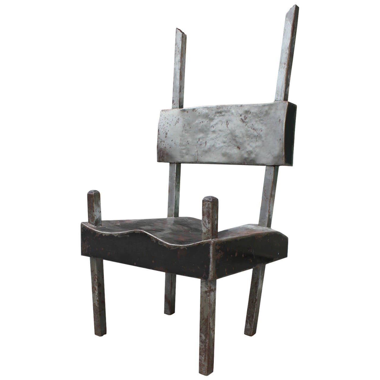 Interesting Modern Metal Lounge Chair by Houston Artist Ed Wilson For Sale at