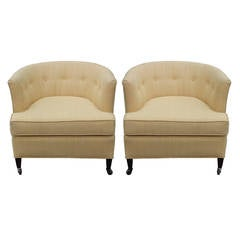 Clean Pair of Barrel Back Club Chairs